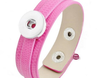 Pink 1 chunk leather bracelet for snap 18 & 20 mm snap