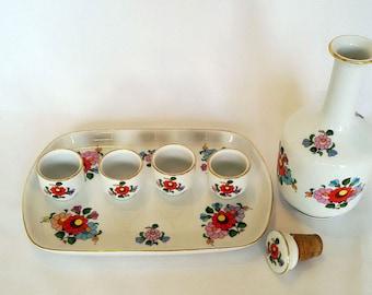 Hungarian Vintage KALOCSA Handpainted Porcelain Large Brandy drink cups set, Hungarian porcelain, Porcelain drink set, alcohol glass