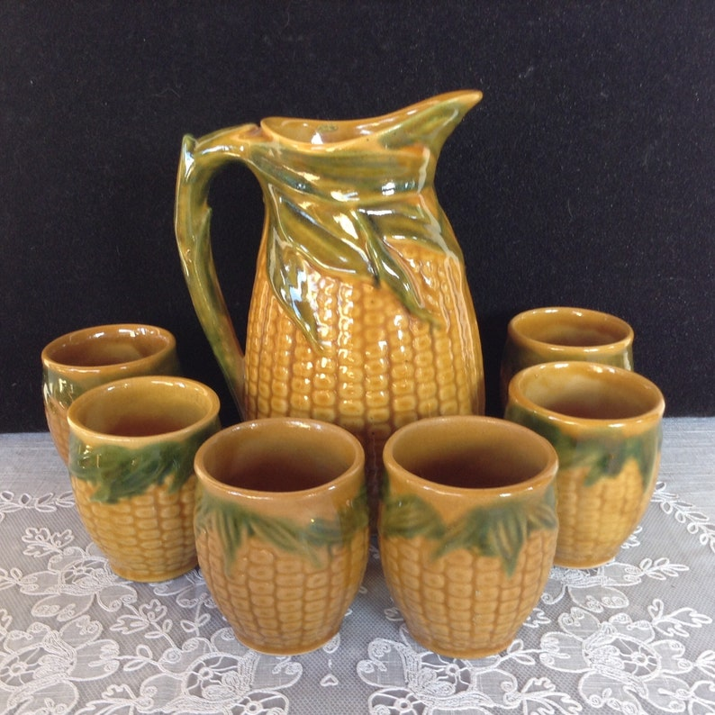 ceramic cup flask ceramics jug wine set Vintage 1960/'s Hungarian Hungary Handpainted ceramics Large Brandy Firewater Set ceramic