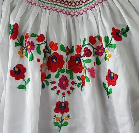 Hungarian XL dress Matyo Kalocsa Dress L Traditional dress White Art Blouse Embroidered Hand Black Folk Embroidered size q6vAtT
