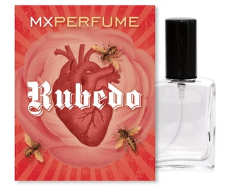 RUBEDO Perfume, 15ml Spray Bottle, Roller Perfume Oil, Alchemy, Pink Grapefruit, Mandarin, Rose, Melon, Honey, Musk, Sandalwood, Oakmoss