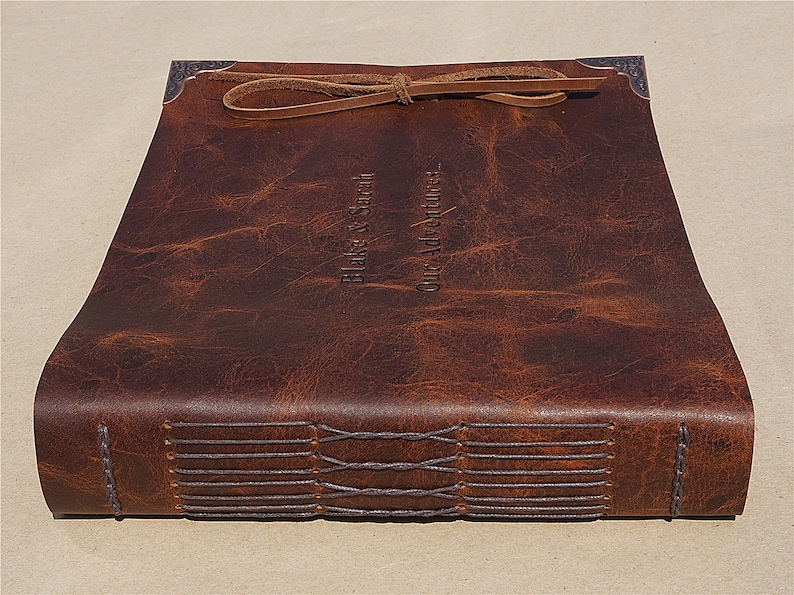 Handmade Leather Photo AlbumRustic Wedding Guest BookLandscape Photo Guest BookEngraved GiftsChristmas GiftWedding GiftFree Shipping
