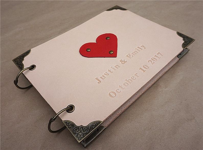 Wedding journal leather wedding journal personalized journal wedding guest book custom guest book red heart guest book leather guest book