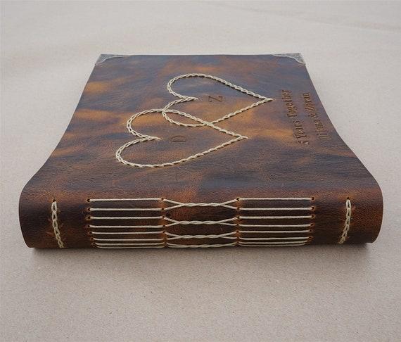 Personalized Leather Bound Photo Album Brown Leather Wedding Guest Book Handmade Scrapbook Album Monogram Anniversary Gift