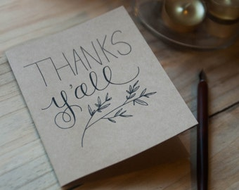 Thanks Y'all stationery set of 10 note cards and envelopes
