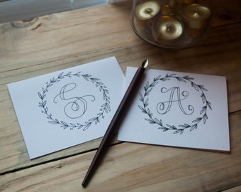 Alphabet Initial stationery set of 10 notecards and envelopes