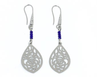 Earrings antique silver filigree and Royal Blue seed beads.