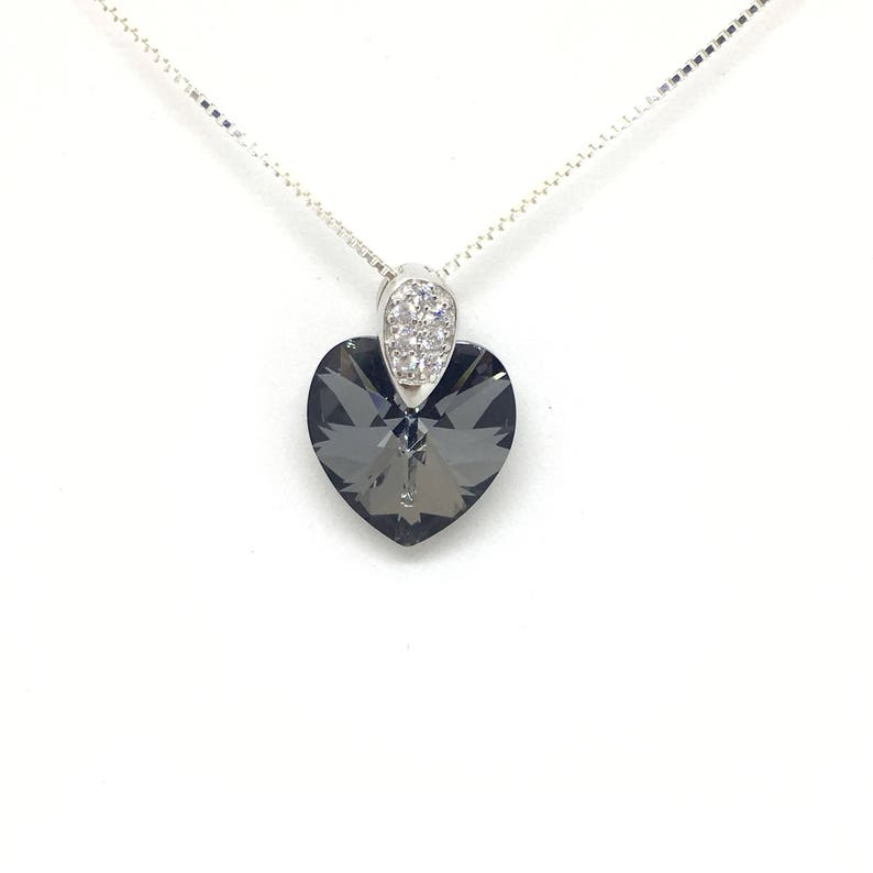 97c13ba6e Sublime heart silver night Swarovski Crystal and Venetian | Etsy