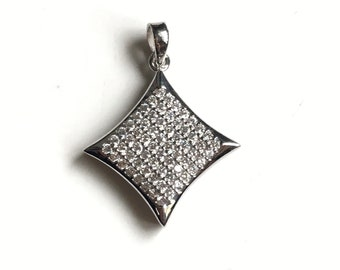 Rhodium plated CZ 925 sterling silver square pendant.