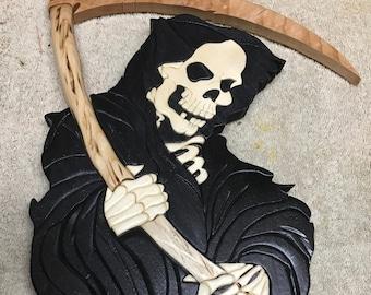 Grimm Reaper Death wooden hanging wall plaque