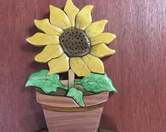 Pot of Sunflower. Sunflower Pot Intarsia Wood Carving Wall Hanging Floral Summer Decor Flower Decoration Nature Garden Yellow