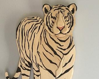 Siberian white Tiger standing wall art Intarsia
