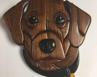 Brown Labrador Retriever wooden dog art plaque