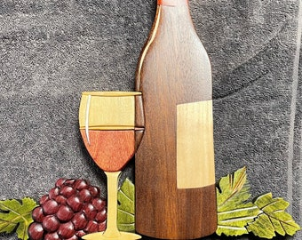 Wine in Still Life, Intarsia Wall Hanging Décor