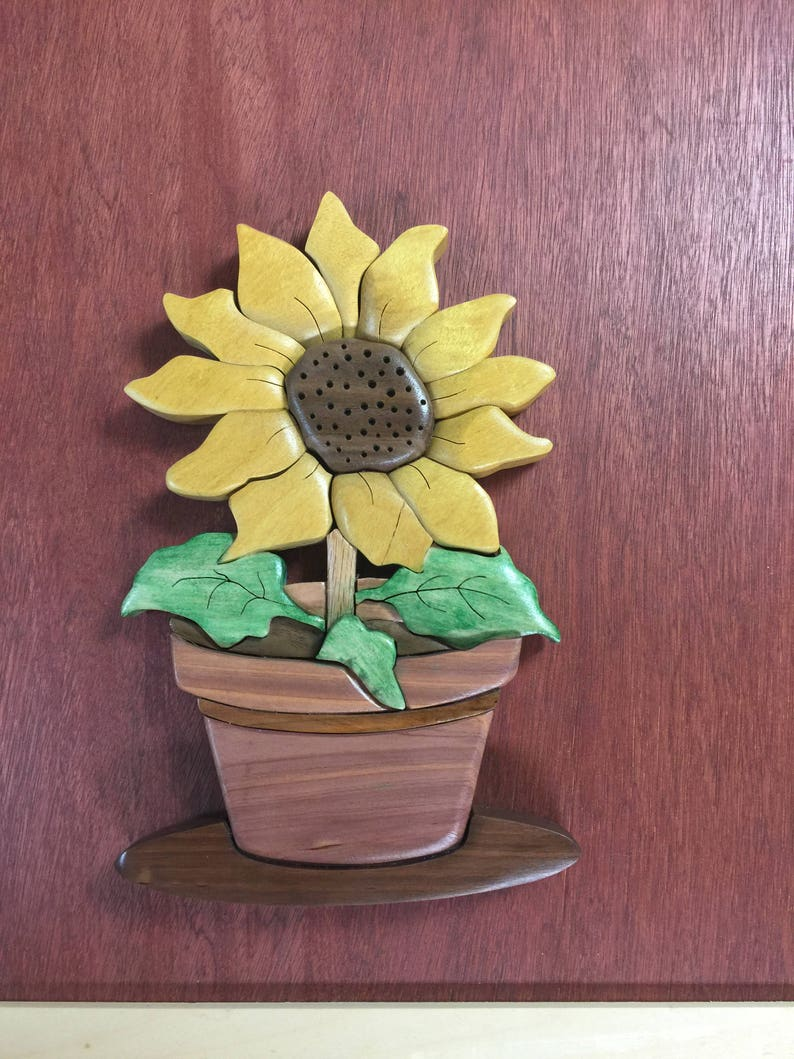 Pot of Sunflower. Sunflower Pot Intarsia Wood Carving Wall image 0