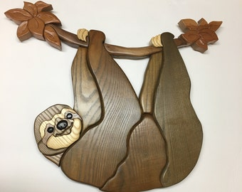 Sloth South and Central America Wildlife wall hanging done in Intarsia