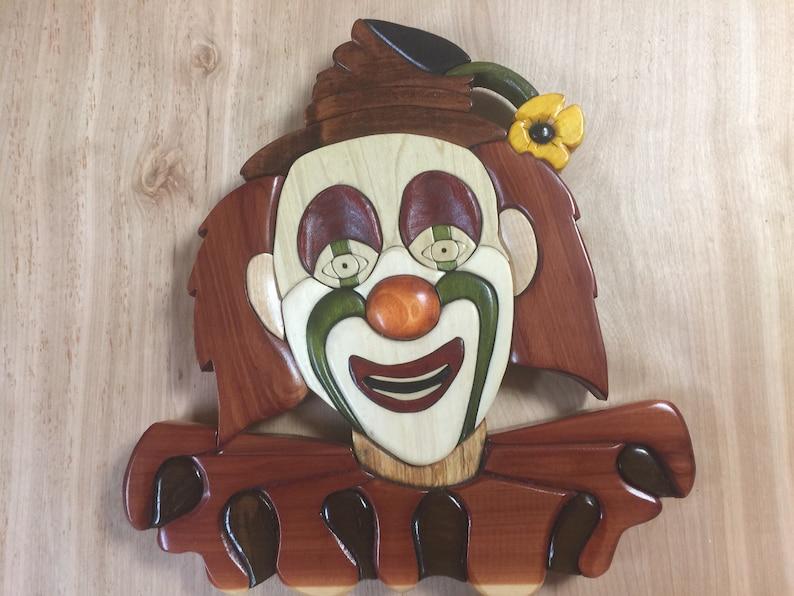 clown wall hanging wood intarsia art image 0