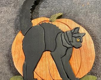 Halloween Pumpkin w/ Scary Cat