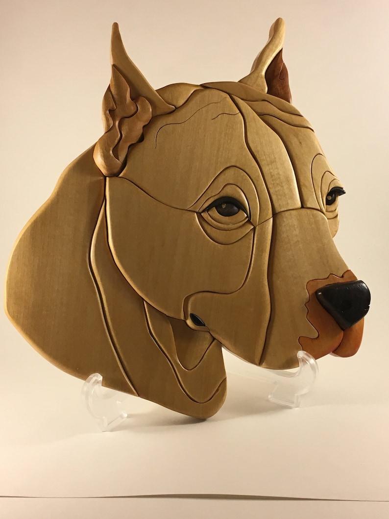 Pit bull Terrier dog   Intarsia pet wall hanging art image 0