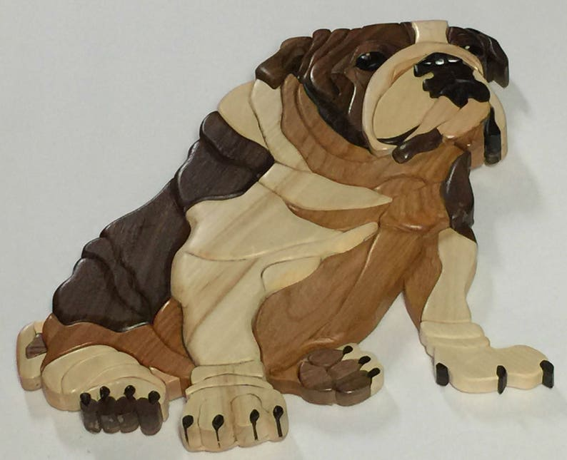 English Bulldog full body dog done in Intarsia image 0