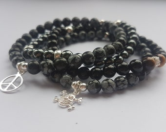 Sterling silver & semi precious gemstone bracelet stack