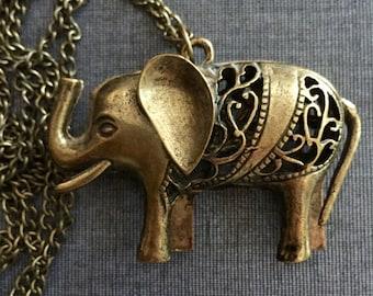 Elephant pendant necklace on chain