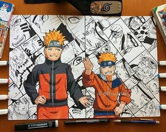 Kid - Teen Naruto Uzumaki Collage PRINT A4