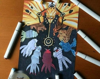 Naruto and The Tailed Beasts A4 PRINT