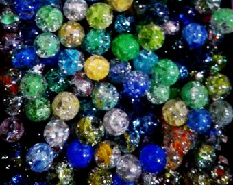 Fried Marbles 10 Collectible Cracked Cats Eye Marbles 0078