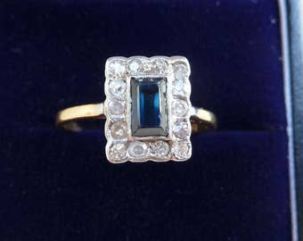 Beautiful 18ct 18k and white gold art deco 0.75ct Sapphire Diamond cluster vintage antique ring
