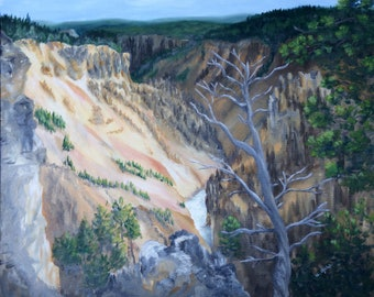 Yellowstone / National Park / Nature / Landscape / Original / Oil  Painting / The Colors of Yellowstone / free shipping
