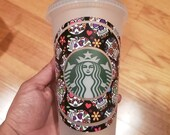 Dia de Los Muertos Day of the dead, Sugar Skulls Reusable Venti Cold Cup customized with name
