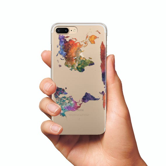 Iphone 6 World Map Case.Map Case Clear Silicone Case Iphone 6s Silicone Case Iphone 7 Etsy