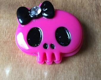 Pink Bling Skull Brooch