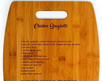 Bamboo Cutting Board custom laser engraved with your Family Favorite Recipe