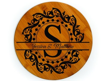 Cutting board with custom engraved split monogram