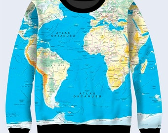 World map clothing etsy world map sweatshirt geography sweatshirt for women blue sweater jumpers for women pullover sweater gift for traveller gumiabroncs Image collections