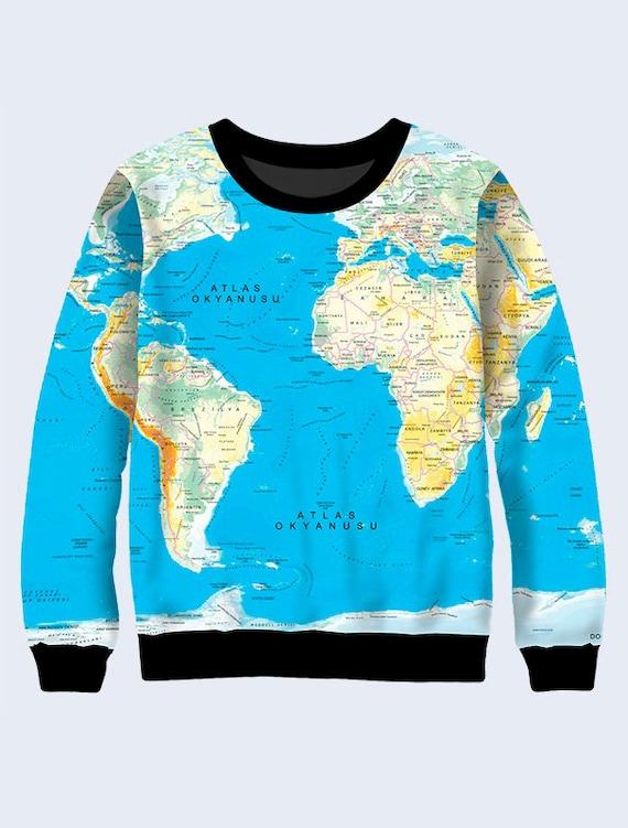 World Map Sweater.World Map Sweatshirt Geography Sweatshirt For Women Blue Etsy