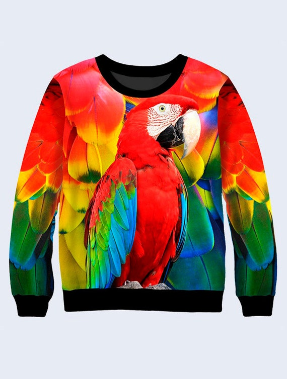 Parrots Sweatshirt Colorful Pullover Birds Long Sleeve Tee  42ffc308a