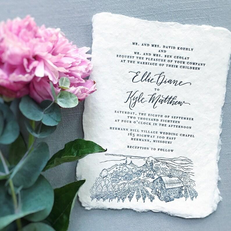 CUSTOM Letterpress Venue Illustration Wedding Invitations On Handmade Cotton Paper Landscape