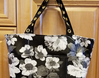 Faux leather bag, beach bag, small tote, black and white floral, small purse, fake leather tote, purse, tote, black and white tote, book bag