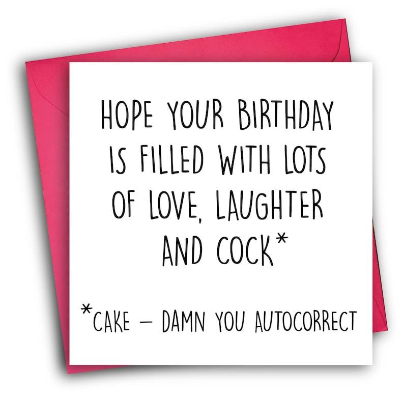 Funny Birthday Card/ Rude Birthday Card/ Autocorrect image 0
