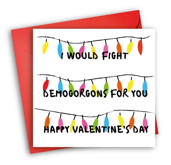 Stranger Things Valentine S Card Demogorgons Etsy