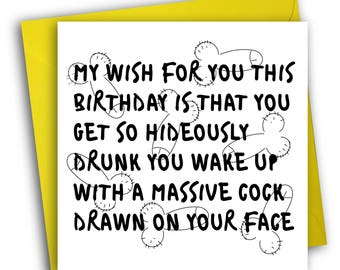 Funny Birthday Card/ Drunk / Greetings Card
