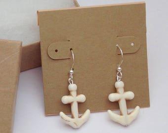 Stone anchor earrings, Nautical earrings