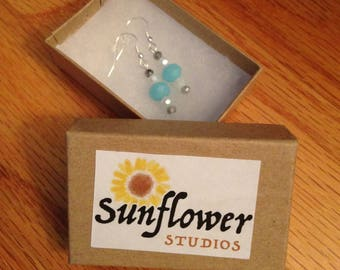 Silver white and blue earrings