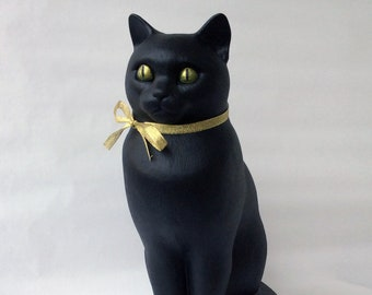 """40% OFF Sitting cat statue 15"""" Black color with a gold bow - Handmade by ARILAN"""