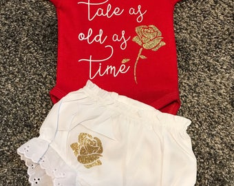 Tale as old as time bodysuit and diaper cover set. Bodysuit is sold seperate as well.