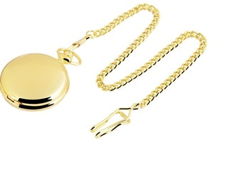 Pocket watch free engraving gift gold colors