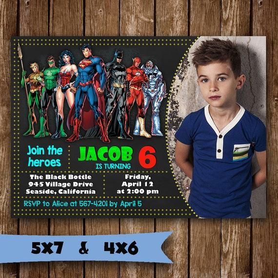 Justice League Invitation Justice League Superhero Birthday